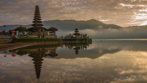 Sunrise Timelapse At Pura Ulun Danu Bratan stock footage