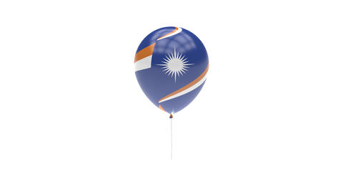 Marshall Islands Balloon Rotating Flag Animation - Alpha Channel - Transparent stock footage