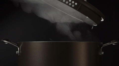 Cook Open Lid On Steaming Pot stock footage