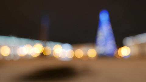 Night Palace Square Panorama At New Year Time, Change Focus To Blurred stock footage