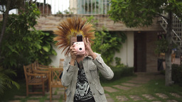Punk With Camera Takes A Picture stock footage