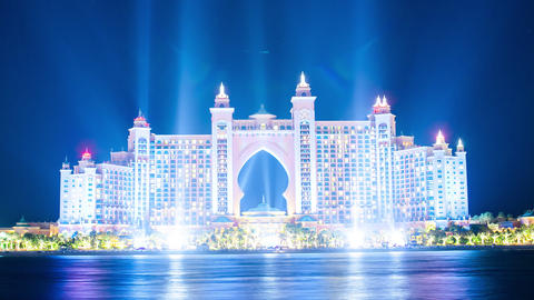 high light new year atlantis hotel time lapse from dubai city Footage