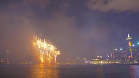 Chinese New Year Fireworks in Hong Kong, timelapse Footage