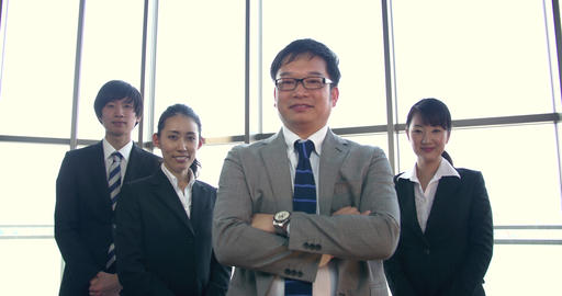 Japanese working professionals support their boss Footage