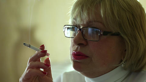Woman With A Cigarette, Close Up Shot stock footage