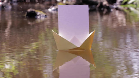 Paper Boat Floating On The Waters Of A Shallow Over Flying Insects 75 stock footage