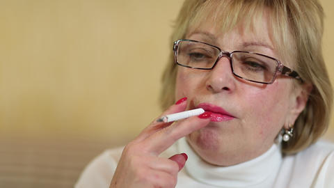 Woman With A Cigarette stock footage