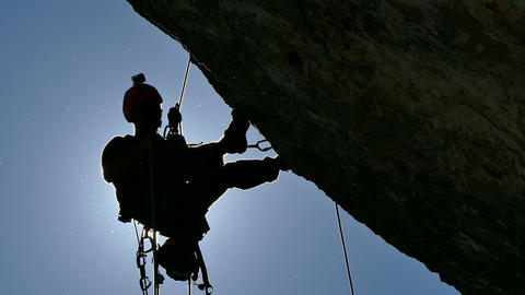 Silhouette Of A Rock Climber stock footage