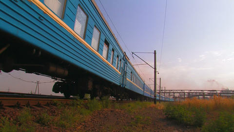 Blue Passenger Train Footage
