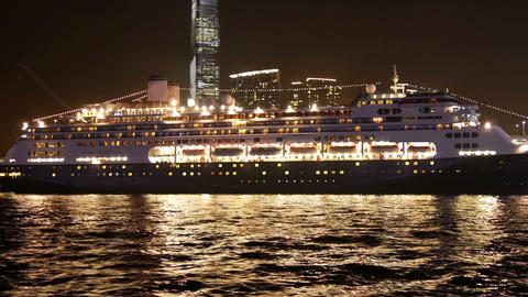 Cruise Ship At The Pier Of Hong Kong In The Evening stock footage