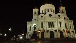 Famous Cathedral Of Christ The Saviou At Night Time, Slide Shot. Moscow Landmark stock footage