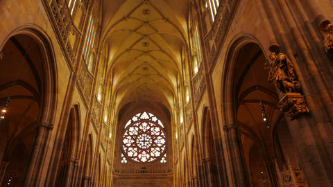 POV Walk In The Central Aisle Of St Vitus Cathedral In Prague, Czech Republic (C stock footage