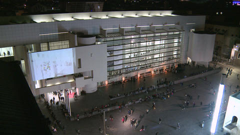 Contemporary Art Museum Of Barcelona Facade At Night stock footage