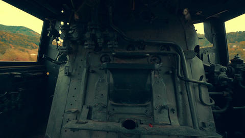 Interior Of An Old Steam Engine stock footage