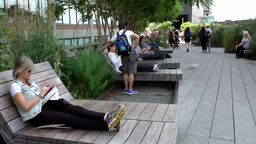 New York City 672 Relaxation Zone On The High Line stock footage