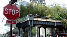 New York City 684 End Point Of The High Line In Greenwich Village stock footage
