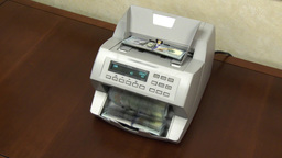 4K Slow Zoom Money Counting Machine 3778 stock footage