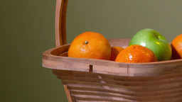 4K Basket Of Fruit Get Orange Closeup 3936 stock footage