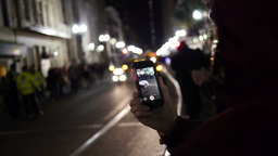 Tourists Record A Mardi Gras Parade On Their IPhones 4109 stock footage