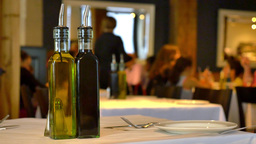 4K Bottles On A Table At A Restaurant Background stock footage