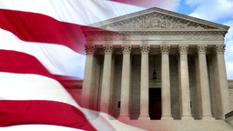 Patriotic Slow Motion American Flag and Supreme Court Background Footage