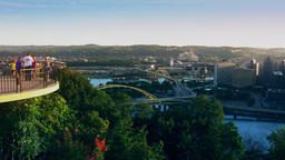 Family Visits Mt Washington Overlook In Pittsburgh stock footage