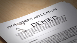 Employment Contract Is Denied stock footage
