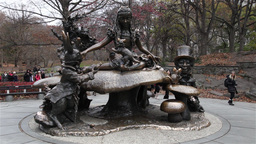 Alice In Wonderland Statue In Central Park, New York stock footage