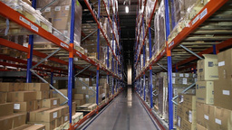 Warehouse Corridor With Boxes, Slider Shot stock footage
