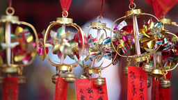 Ornaments In A Temple In Macau, China stock footage