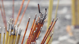 Incense Sticks Burning In A Temple In Macau stock footage
