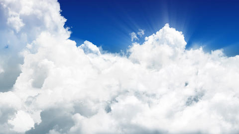 Endless Flight Through Sunny Clouds. Seamless Loop stock footage