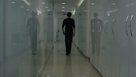Corridor With Men Slow Motion stock footage