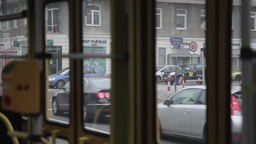 view from inside tram passenger in warsaw poland Footage