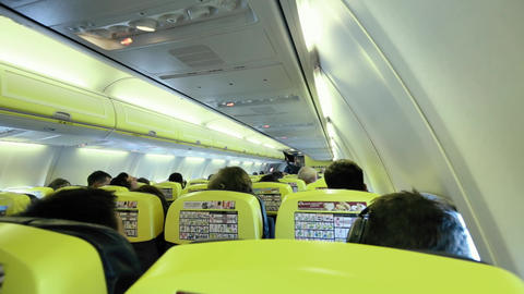 Airplane Passenger Cabin With People Footage