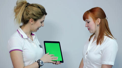 Doctor Discussing Eesults With Patient On Tablet, Green Screen stock footage