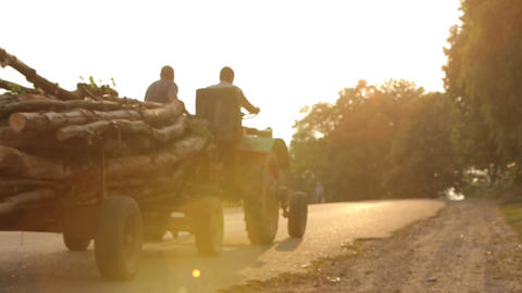 Road Tractor Is Moving From Left To Right stock footage