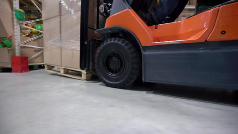 Logistics Business And Shipping Facility With Manual Worker Operating Forklift T stock footage