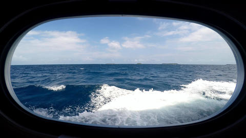 The View From The Window Of A Dive Boat. Diving Safari Along The Reef Of The Mal stock footage