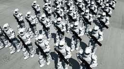 Space Opera: Marching Troopers (Birds Eye View) stock footage