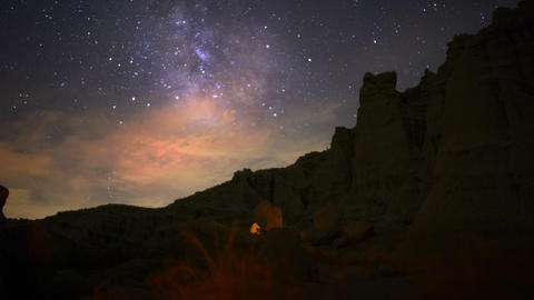 Milky Way Galaxy 71 Dolly R Down Timelapse Mojave Desert Red Rock Canyon stock footage