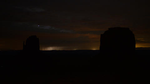 Monument Valley Lightning 03 Zoom In Time Lapse Night Sky Footage