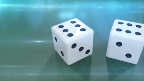 Two white dices in motion against a green background Animation