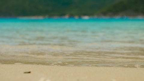 Soft Wave Of The Blue Sea On The Sandy Beach stock footage