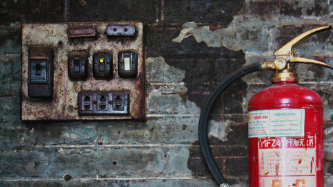 Antique Electrical Panel Board With Fire Extinguisher stock footage