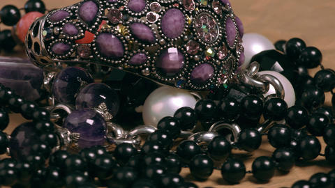 Jewelry Articles Made Of Stone, Glass And Plastic stock footage
