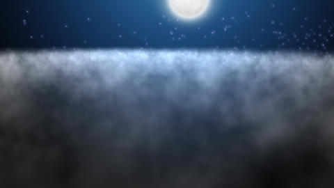 Full Moon Shine Above The Clouds On A Starry Night stock footage