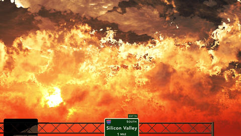 4K Passing Silicon Valley USA Interstate Highway Sign In The Sunset stock footage