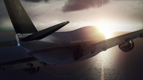 Passenger Aircraft Flying Against the Sunset Animation