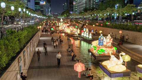 Cheonggyecheon Cut2 stock footage
